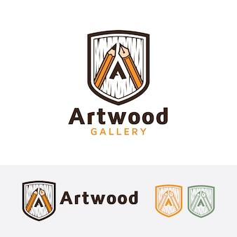 Kunst holz logo vorlage