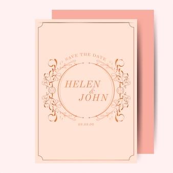 Kunst nouveau hochzeitseinladung der weinlese rosafarbenes gold