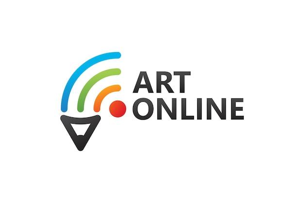 Kunst online, bleistift und netzwerk-logo-vorlage premium-vektor