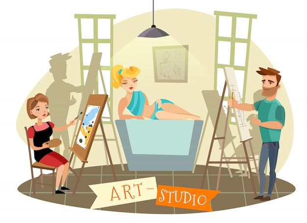 Kunst-studio-kreative prozess-karikatur-illustration