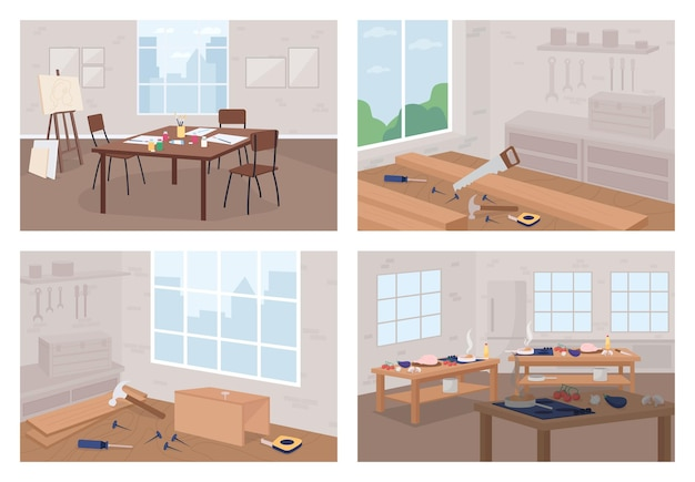 Kunst- und handwerkswerkstätten flacher farbsatz. neues hobby lernen. blumenladen. zimmerei, holzbearbeitung. 2d-cartoon-interieur im klassenzimmer ohne personensammlung