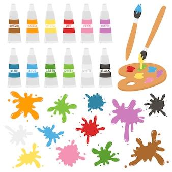 Kunst und malerei liefert vektor festgelegt