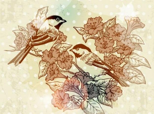 Kunst vogel blume herbst hintergrund vektor-set