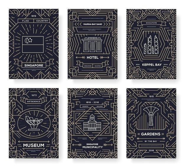 Kunstarchitektur, buch, plakat, banner, element. traditionelle ethnische umrisspaket-grußkarte.