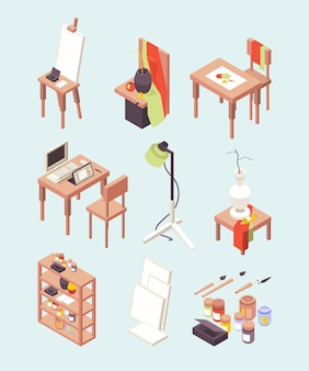 Kunstatelier. artikel für künstler malen pinsel mit staffeleien arbeitswerkzeuge für designer isometrische sammlung. studiokunst mit staffelei und pinsel zur hobbyillustration