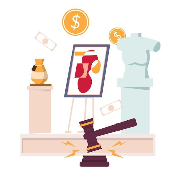 Kunstauktion, flache vektorillustration. auktionshammer, geld, kunstwerke. verkauft werden antike vasen, gemälde und büstenskulpturen. markthandel.