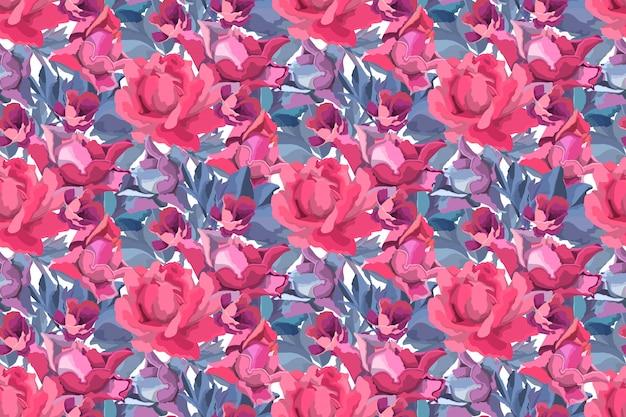 Kunstblumen nahtloses muster. rote, burgunderrote, kastanienbraune, lila gartenrose, pfingstrosenblüten und -knospen, blaue zweige und blätter lokalisiert auf weißem hintergrund.