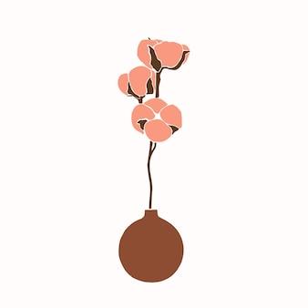 Kunstcollage aus baumwollblumen in einer vase im minimalistischen trendstil. silhouette eines baumwollzweiges in einem einfachen abstrakten stil. vektorgrafik für print-t-shirts, karten, poster, social media