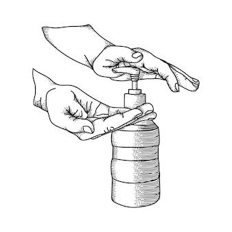 Kunsthandwerk gezeichnete iluatration schwarzweiss-hände waschen premium-vektor