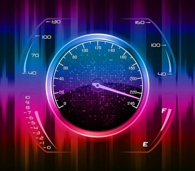 Kunstkonzept des geschwindigkeitsmessers des rennwagens