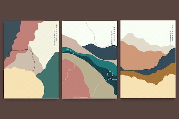 Kunstlandschaftshintergrund mit japanischem wellenmuster