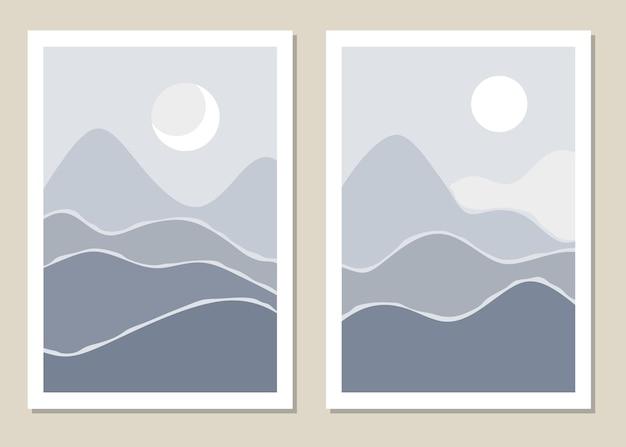 Kunstlandschaftswand. abstrakte landschaft mit bergen