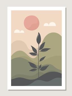 Kunstlandschaftswand. botanisch. abstrakte landschaft