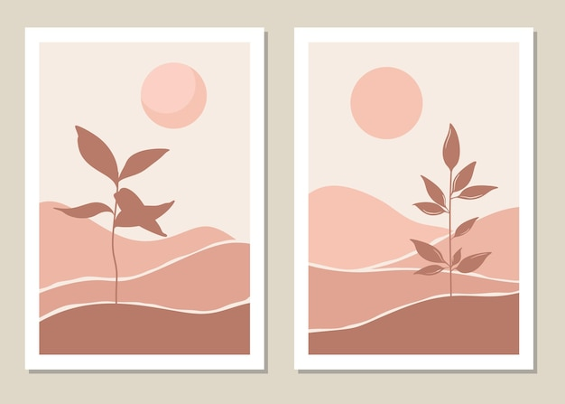 Kunstlandschaftswandset. botanisch. abstrakte landschaft