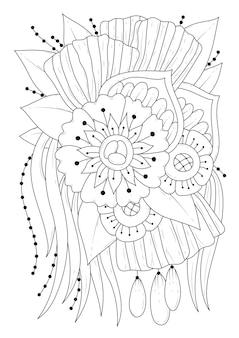 Kunstlinienillustration. schwarz-weiß-blumen-farbseite