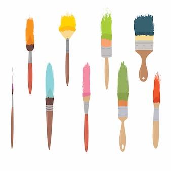 Kunstmaterialsatz synthetische bürsten für malerei