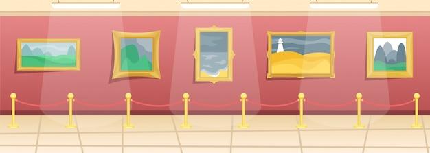 Kunstmuseum. halle mit gemälden in vergoldeten baguettes, von besuchern eingezäunt. klassische kunst.