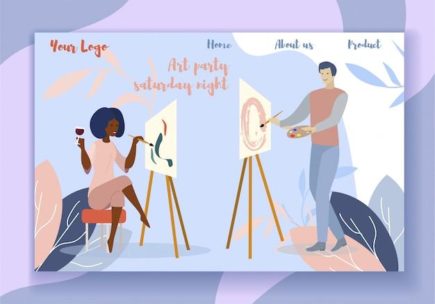 Kunstparty am samstagabend landing page motivieren