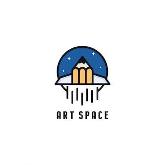 Kunstraum-logo-vorlage. raumschiff-logo. kombination aus raketen- und bleistiftlogo.