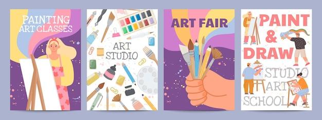 Kunstschul- oder klassenplakate mit charakteren und malzubehör. kreative zeichenkursbanner mit pinsel und materialvektorsatz