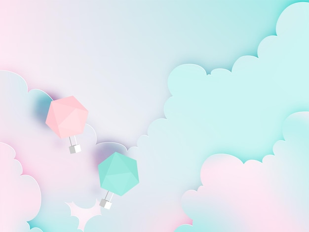 Kunststil des heißluftballonpapiers mit pastellhimmel