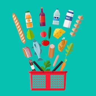 Kunststoff-einkaufskorb voller lebensmittelprodukte