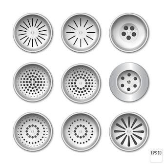 Kunststoff-entwässerungsgitter für dusche oder waschbecken. set für design. realistisches set-drain-mannloch mit gitter am abwasserkanal im badezimmer- oder duschboden