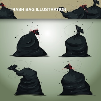 Kunststoff-müllsäcke illustration set