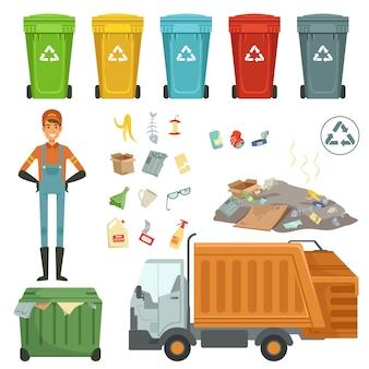 Kunststoffbehälter für verschiedene abfälle. vektorillustration der müllerntemaschine und des dustman