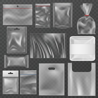 Kunststoffverpackungen. transparente plastikverpackungen, lebensmittelbehälter und vakuumbeutel. wickelbeutel aus polyethylen, modelle für snackpakete