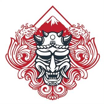 Kunstteufelmaske im japanischen stil mit dekoration der traditionellen zeichenwelle und des mount fuji