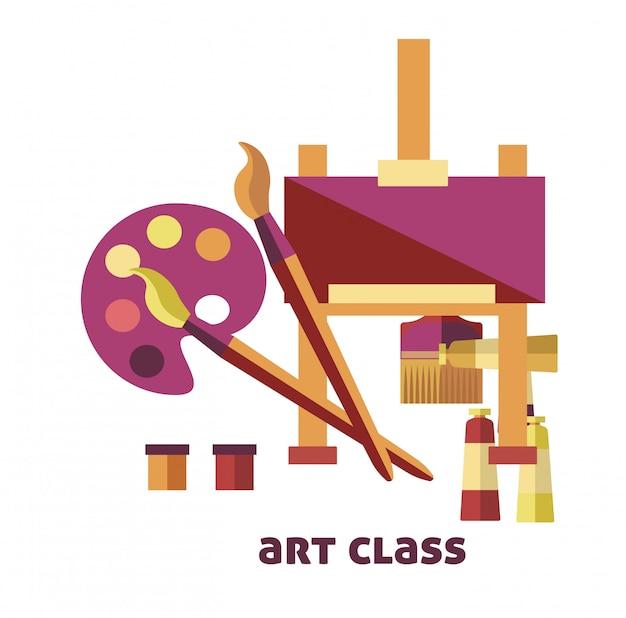 Kunstunterricht ausrüstung, um bilder promo poster zu erstellen