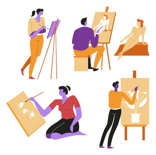 Kunstunterricht und klassen zeichnen und posieren vektor