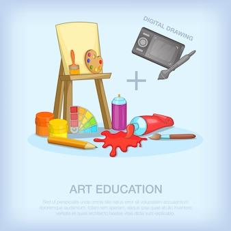 Kunstvermittlungswerkzeugkonzeptsatz. karikaturillustration von kunstbildungswerkzeugen vector konzept für netz