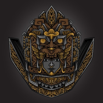 Kunstwerk illustration goldene aztekische maya gravur ornament