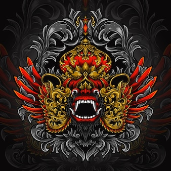 Kunstwerk illustration und t-shirt design barong gravur ornament