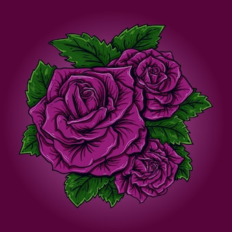 Kunstwerk illustration und t-shirt design lila rose