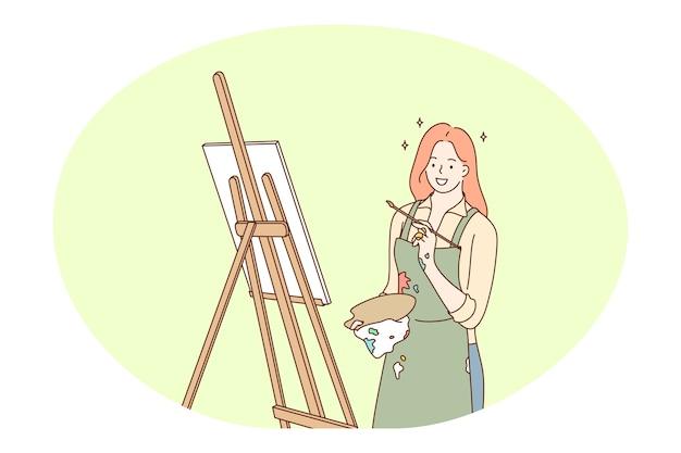 Kunstwerk, kreative berufe, berufskonzept. professioneller malerkünstler der jungen lächelnden frau
