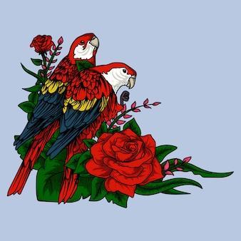 Kunstwerkillustration papageienvogel mit rosen
