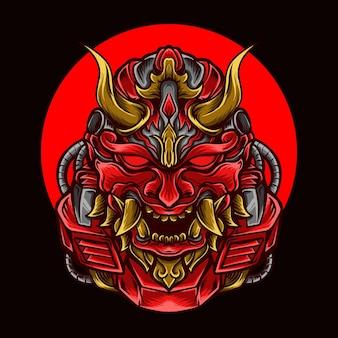 Kunstwerkillustration und roter oni-roboter des t-shirts
