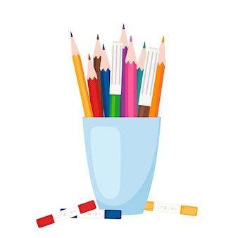 Kunstwerkzeuge, schreibwaren. farbstifte und markierungen stehen in der glasvektorillustration