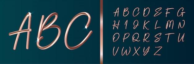 Kupferner text-alphabet-satz