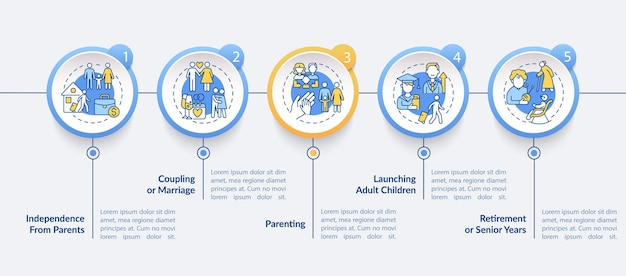 Kupplungs- oder heiratvektor-infografik-vorlage. einführung von designelementen für präsentationen für erwachsene. datenvisualisierung mit 5 schritten. info-diagramm zur prozesszeitachse. workflow-layout mit liniensymbolen