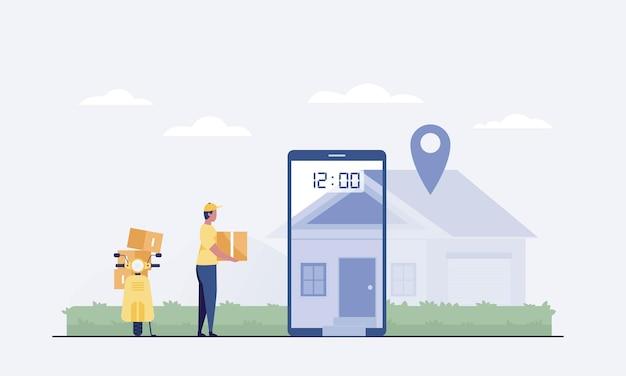 Kurier auf roller liefert paketkasten. smartphone mit mobiler app zur sendungsverfolgung. intelligentes logistikkonzept. vektor-illustration