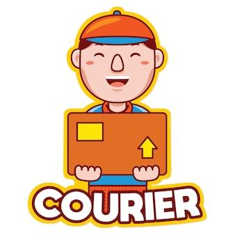 Kurier-beruf-maskottchen-logo-vektor im cartoon-stil