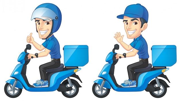Kurier boy rides scooter