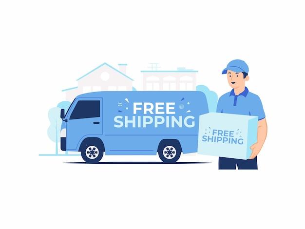 Kurier, der einen papppaketkasten hält, liefert das paket vom online-shopping-express und der schnellen kostenlosen versandlieferung zum haus mit lieferwagen hinter konzeptillustration