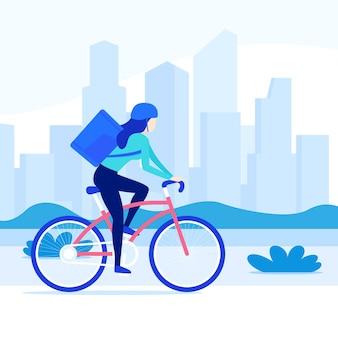 Kurier, der fahrradauslieferungsarbeiter auf fahrrad in der stadt reitet