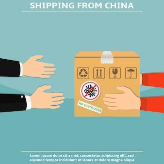Kurier gibt ein paket aus china auf coronavirus überprüft