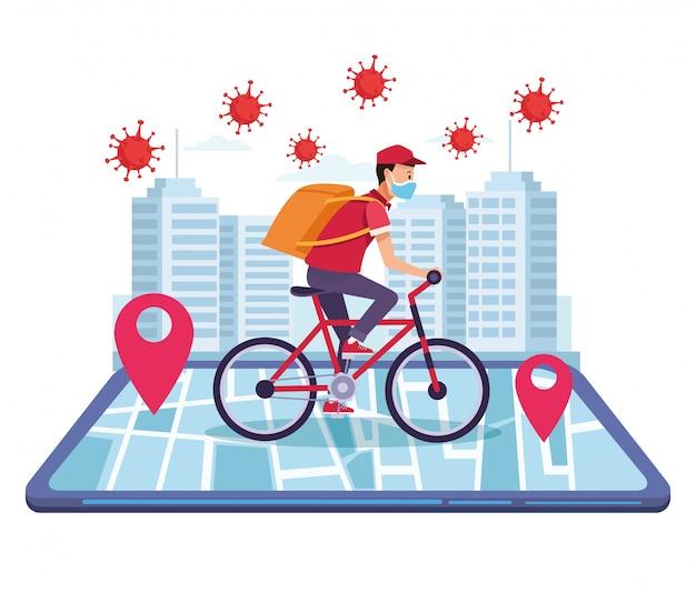 Kurier in fahrradlieferung online-service
